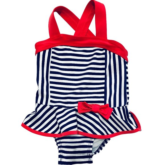 Cat & Jack Navy Striped Tutu Swimsuit